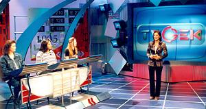 Stella Gommans op zoek naar de grootste TV Gek, 1999. Foto: RTL.